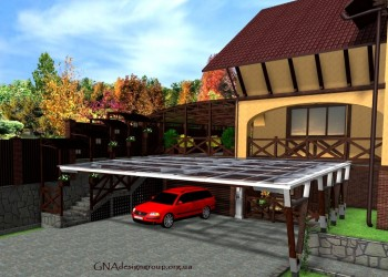 Cолнечные панели над парковкой с зарядной станцией