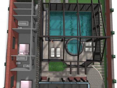 Стиль Тюдоров. Визуализация фасадов дома, 3д планировка, факт. замеры, варианты размещения бассейна, пристройки и благоустройство участка