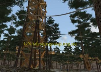 Веревочная переправа, башня и zip-line / троллей